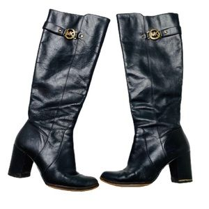 Michael Kors black leather heeled boots size 7.5